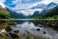 A1 | Norway Landscape Poster Art Print 60 x 90cm 180gsm Fjord Lake Gift #8914