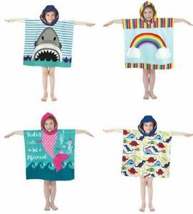 Boys Girls Kids Hooded Poncho Towel Beach Bath Robe Swim Sun Protection UV 40+