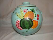 Vintage Ransburg Cookie Jar Teal Turquoise Round Pineapple Cherries Pottery