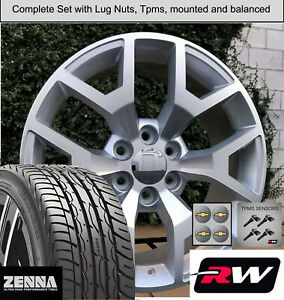 20x9 inch Wheels and Tires for Chevy Avalanche Replica 5658 Silver Machined Rims