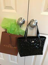 COACH 52088 Peyton Op Art Embossed Black Patent Leather Top Handle Mini Tote