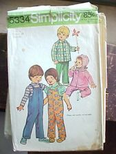 Vintage Sewing Pattern Boys Girls Overalls Winter Outdoor Simplicity 5334 Sz 1/2