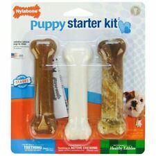 Nylabone Puppy Starter Kit, Pack of 3 Dental Dog Chew Bones, 1 Edible, 1 Gentle