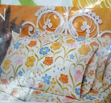 VTG Perma Prest Percale GARDEN TRELLIS Full Flat Sheet Yellow Blue Green Floral