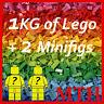 Lego Bundle 1KG 1000g Genuine Bricks Parts Pieces +2 Minifigures SORTED VGC FAST