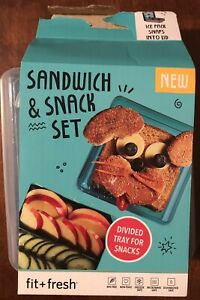 Sandwich Snack Set Divided Tray Ice Pack 4 Piece Lunch Box Dark Blue