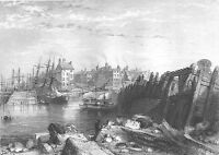 Yorkshire BRIDLINGTON HARBOR SAILBOATS SHIPS SEAPORT ~ 1840 Art Print Engraving
