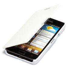 Samsung Galaxy S2 Plus Hülle Tasche Flip Case Schutz Etui Wallet Book Cover weiß
