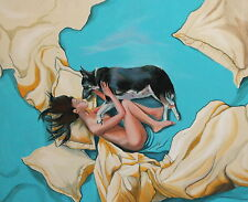 Contemporary surrealist oil painting woman and dog