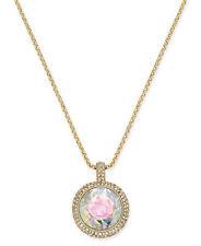 KATE SPADE 12K Gold Tone Crystal Rose Mini Pendant Necklace w/ KS Dust Bag NEW