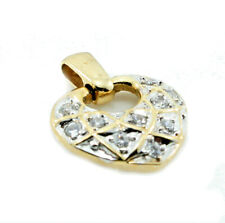 9ct Yellow Gold Solitaire Floating Diamond Small Love Heart Pendant 14mmx9mm