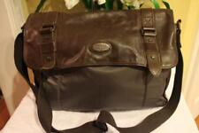 mens FOSSIL nylon leather double buckle soft briefcase  (3000
