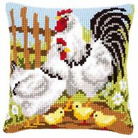 Vervaco - Cross Stitch Cushion Front Kit - Rooster Family - PN-0146209