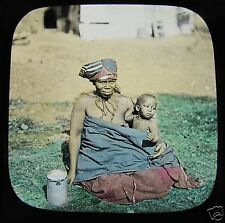 Glass Magic Lantern Slide A KAFIR WOMAN & CHILD  C1890 SOUTH AFRICA