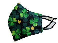 St. Patrick's Day Shamrock Irish Fabric Face Mask with Nose wire Handmade in USA
