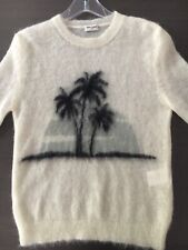 SAINT LAURENT PARIS PALM TREE intarsia mohair sweater black and off white NEW XS