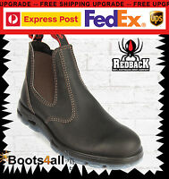 New Redback Work Boots Bobcat Chelsea Dark Brown Oil Kip Leather Soft Toe UBOK