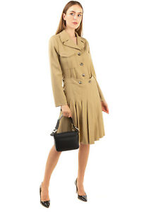 RRP€2510 CHLOE Jacket Dress Size 40 / M Wool Blend Pleated Draped Made in France