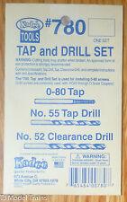 Kadee #780 Tap & Drill Set -- 0-80 Tap, #52 & 55 Drills