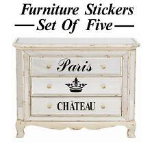 5 x français paris couronne meubles style autocollants/graphique/autocollants muraux?