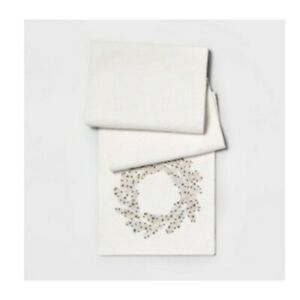 Metallic Sequin Embroidered Wreath Table Runner Silver/Gold/White - Threshold A7