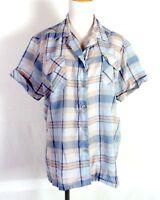 vtg 60s retro Women's Rockabilly Loop Collar Shirt Top Sparkly Lurex Plaid 42