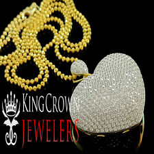 10K Yellow Gold On Silver Ladies Round Cut Lab Diamond Pave Puff Heart Pendant