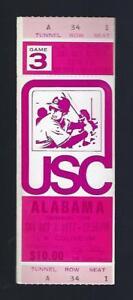 1977 NCAA ALABAMA CRIMSON TIDE @ USC TROJANS FOOTBALL FULL UNUSED TICKET