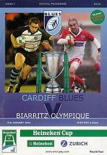 Cardiff Blues V Biarritz Olympique 17 de enero de 2004 Rugby programa