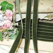 "1y Tiny 3/8"" Swiss Olive Green Velvet Ribbon Trim Doll Millinery Hat Dress Vtg"