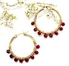 RED HOOP EARRINGS SMALL Jewelry women Stud Crystal Dangle Fashion Boho Ear Gold