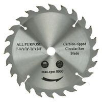 """7-1/4"""" 24 Tooth Carbide Tipped Saw Blade All Purpose Max RPM 8000"""
