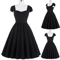 Belle Poque Vintage Women Retro Style 50s Black Evening Party Dress Formal Swing
