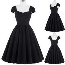 Belle Poque Vintage Women Retro Style 50s Black Evening Party Dress Formal Swing