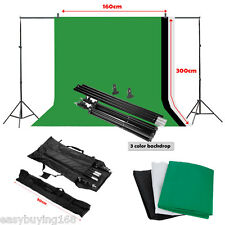 Photography Studio Photo Screen Black White Green Background Backdrop Stand Kit