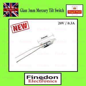Glass 3mm Mercury Switch Angle Tilt Switches UK Seller