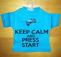 Mini T-Shirt Maglietta da Appendere - Keep Calm and Press Start - Azzurra