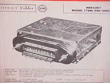 1957 MERCURY METEOR MONTCLAIR MONTEREY TURNPIKE CRUISER AM RADIO SERVICE MANUAL