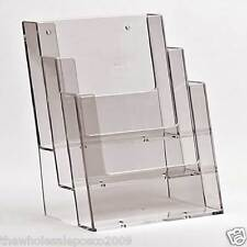 A5 3 TIER LEAFLET FLYER BROCHURE DISPLAY FOR COUNTERS THREE BAY A5 MENU HOLDER