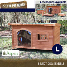 NEW Aspen Large Flat Roof Wooden Dog House Wood Timber Kennel