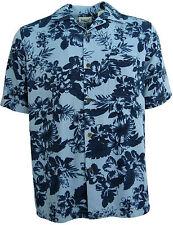 NWT Mens Silk Hawaiian Camp Shirt Aloha Navy Light Blue Casual Beach XXL 2XL 2X