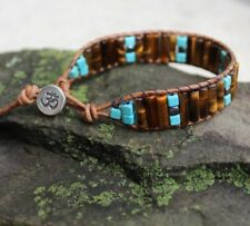 Men's Tiger Eye and Turquoise Beaded Brown Leather Bracelet handmade USA