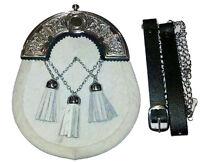 WHITE Cowhide Cow Hide Skin 3 Tassel Leather Kilt SPORRAN & Belt