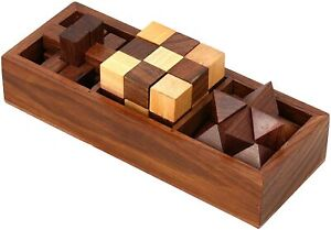 Ajuny 3 in One Wooden 3D Puzzles Games Set Board Brain Teaser Game Gifts Item