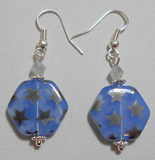 Dangle earrings - glass beads, blue with silver stars