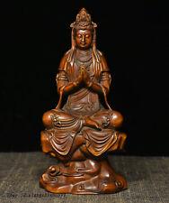"""7"""" Chinese Buddhism Boxwood wood exquisite Carve Kwan-yin Guan Yin Buddha Statue"""