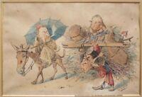 Dessin original de Édouard HERZIG (1860-1926) Algérie Caricature orientaliste
