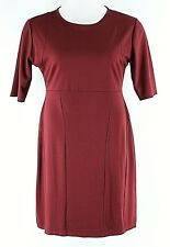 Stanzin XL Burgundy Elbow Sleeves Cotton Polyester Soft Knit Dress G293