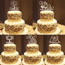Romantic Wooden Cake Topper Rustic Wedding Anniversary Favor Decoration  US CA3