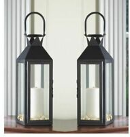 "2  Large 15"" tall BLACK Candle holder Lantern Lamp terrace outdoor garden patio"